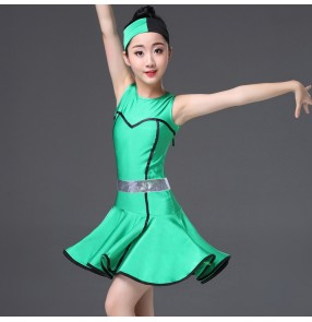 Girls latin dresses children kids green competition salsa chacha rumba stage performance ballroom dresses