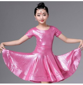 Girls competition latin dresses children pink silver stage performance chacha rumba ballroom dress