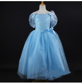 Girls ballet dance dress children kids stage performance competition tutu skirt modern dance long blue dresses costumes