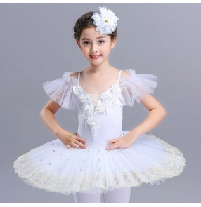 Kids tutu skirt ballet dress competition performance white red pink leotards skirts ballet dresses