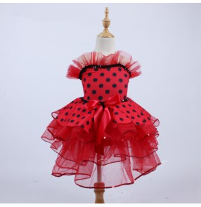 Girls ballet dancing dress red polka dot modern dance tutu leotards skirt party photos cosplay ballet dance dresses