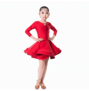 Girls latin dance dresses for kids children green red blue white stage performance competition ballroom salsa chacha dance dresses