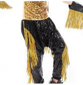 Boys jazz dance pants modern dance hiphop street dancing black gold kids children drummer competition stage performance sequined trousers