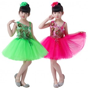 Kids jazz dance dress girls modern dance pink singers dancers school chorus competition flower girls princesses ballet dresses outfits