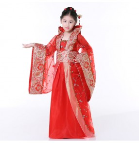Chinese folk dance costumes for kids children red pink China ancient anime drama girls fairy performance cosplay robes dresses