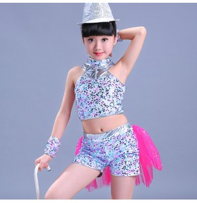 kids street dance silver girls boys jazz dance outfits modern dance performance hiphop singers dancers costumes