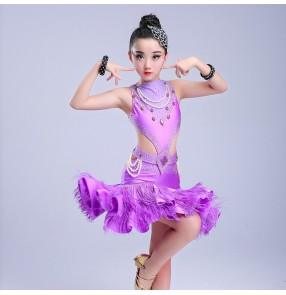 Kids latin dance dresses for girls competition stage performance salsa chacha rumba ballroom dancing dresses