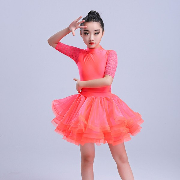 Kids Latin Dresses For Girls Mint Coral Lace Stage