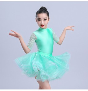 Kids latin dresses for girls mint coral lace stage performance competition salsa chacha rumba dance dresses costumes