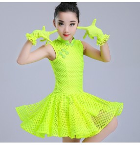 Girls latin dresses for kids children neon green black white stage performance competition ballroom salsa chacha rumba dance dresses