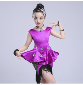 Children latin dance dresses diamond competition stage performance violet green red  rumba chacha salsa dancing dresses