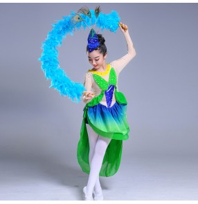 Girls modern dance ballet dance dresses green pink kids children stage latin performance for swan lake competition skating dancing dresses