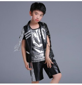 Boys jazz dance outfits street modern dance hiphop singers dancers drummer school competition show performance tops and shorts