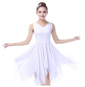 Women's modern dance ballet dress white color stage performance female gymnastics tutu chiffon material long ballet dresses