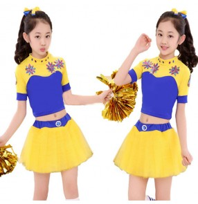 Girls jazz dance costumes cheerleader school sports exercises soccer competition performance uniforms outfits