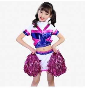 Kids jazz dance costumes cheerleader performance boys girls school sports soccer exercises gyms competition  jazz hiphop singers dancers outfits