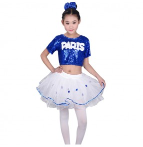 kids jazz dance costumes for girls modern dance street dance flower girls princess sequined flower kids children school competition performance dresses