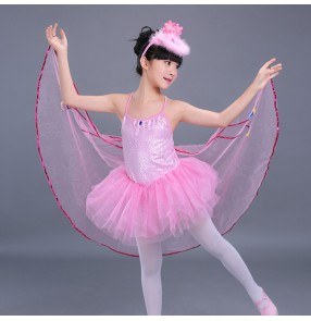 Kids jazz modern dance dresses for girls pink butterfly birds anime cosplay singers dancers performance dancing dresses costumes