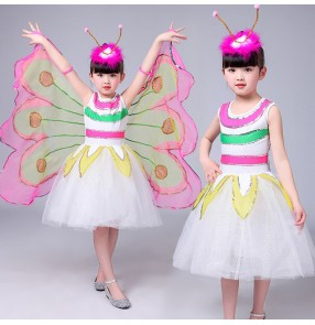Kids modern jazz dance dresses girls white fuchsia yellow butterfly birds wings anime cosplay school performance singers dancers dancing outfits