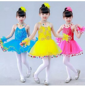 Kids jazz dance dresses  for girls children ballet dresses pink yellow blue stage performance school competition princess  princess show singers dancing outfits