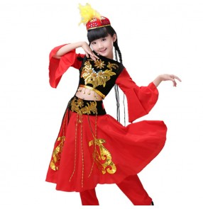 Kids chinese folk dance costumes ancient black and red kids girls ethnic minority Uighur dancers performance dresses