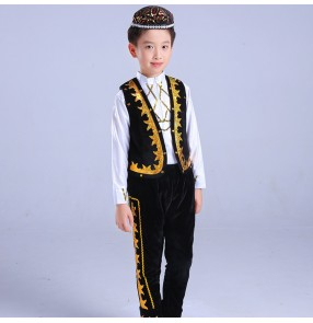 Boys chinese folk dance costumes kids children royal blue black ethnic minority xinjiang Uighur performance dancing tops and pants