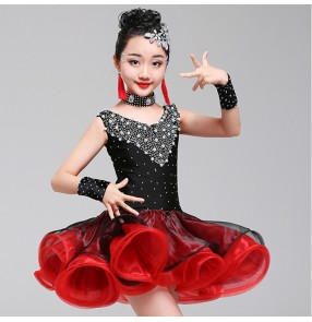 Girls latin dresses stones black and red ballroom competition stage performance chacha rumba salsa dance dresses