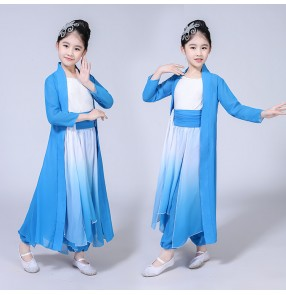 Girls Chinese folk dance dresses blue gradient kids ancient traditional china style photos drama cosplay fairy dance costumes