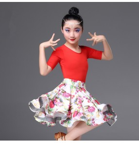 Girls latin dance dresses floral red samba chacha rumba performance competition top and skirts