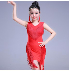 Girls latin dance dresses kids children black red fringes competition salsa rumba chacha dance dresses