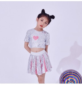 Kids jazz dance costumes silver girls cheerleaders performance sequined modern dance hiphop singers dancers outfits