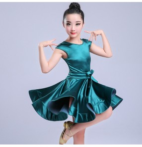 Girls latin dance dresses stretchable satin white dark green royal blue competition stage performance ballroom chacha dance dresses