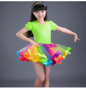 Kids latin dance dresses rainbow colored stage performance chacha rumba salsa modern dance dresses