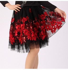 Latin dance skirts competition red competition square dance stage performance chacha dance skirts