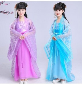 Girls chinese folk dance costumes ancient kids children fairy traditional princess anime cosplay dancing robes dresses