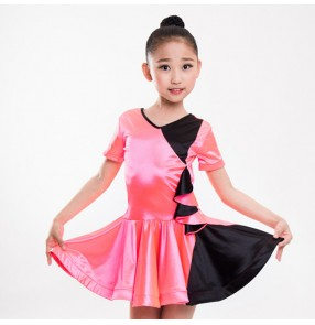 Girls latin dance dresses stretchable satin light pink competition stage performance salsa chacha rumba dance dresses
