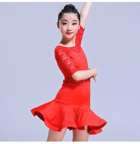 Kids latin dance dresses for girls lace black red performance competition salsa chacha rumba dancing dresses