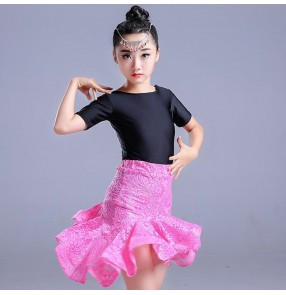 Girls latin dance dresses for kids children pink red dark green lace stage performance salsa rumba chacha  ballroom dancing tops and skirts