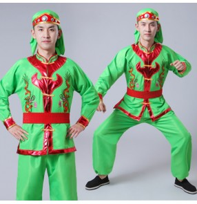 Men's Chinese folk dance costumes for male china style  dragon drummer performance competition tops and pants