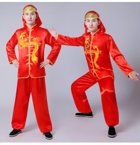 Men's chinese folk dance costumes dragon boat lion competition performance male drummer dancing tops and pants