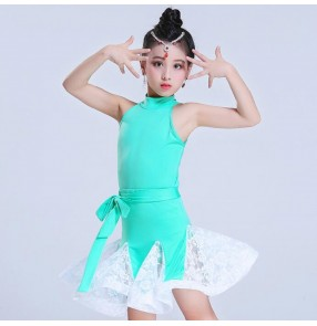 Kids latin dance dresses for girls modern dance competition stage performance black mint salsa chacha rumba dancing outfits