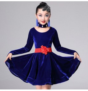 Kids latin ballroom dresses competition for girls red pink blue black stage performance salsa chacha rumba dancing outfits costumes