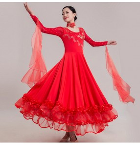 Women's ballroom dresses blue red yellow long length female diamond competition performance waltz tango flamenco dresses