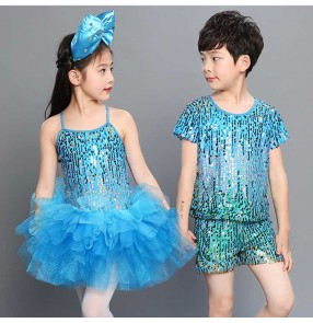 kids jazz dance dresses for children girls boys sequined modern dance school show competition stage performance princesses chorus singers cosplay dance outfits