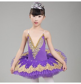 Kids tutu skirt ballet dresses school competition stage performance swan lake pancake rehearsal practice platter dresses