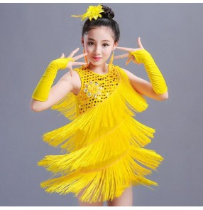Girls fringes latin dresses paillette pink yellow blue stage performance competition salsa professional rumba chacha salsa dresses