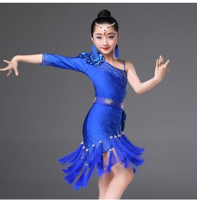 Girls latin dresses for kids children red black white blue fringes stage performance competition diamond salsa chacha rumba dance dresses