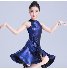 Kids latin stage performance dresses for girls kids children glitter ballroom school competition rumba chacha salsa dance dresses