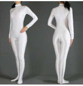 Cosplay Women's white lycra singer jazz ds dance costume bodysuits