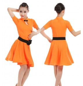 Black red mint neon green orange hot pink girl's children kids stage performance gymnastics competition latin rumba salsa dance dresses